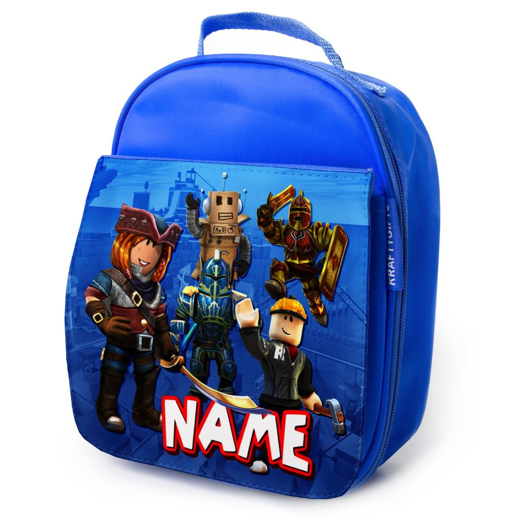 ec103cf1fa19 Details about Roblox Lunch Bag School Childrens Boys Insulated Blue  Personalised RB01