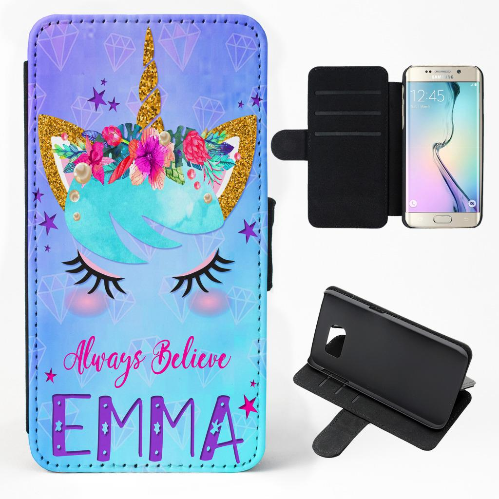 uk availability ec1ae afeed Details about Personalised Unicorn Samsung Phone Case Flip Cover Cute Name  / Initial KS33