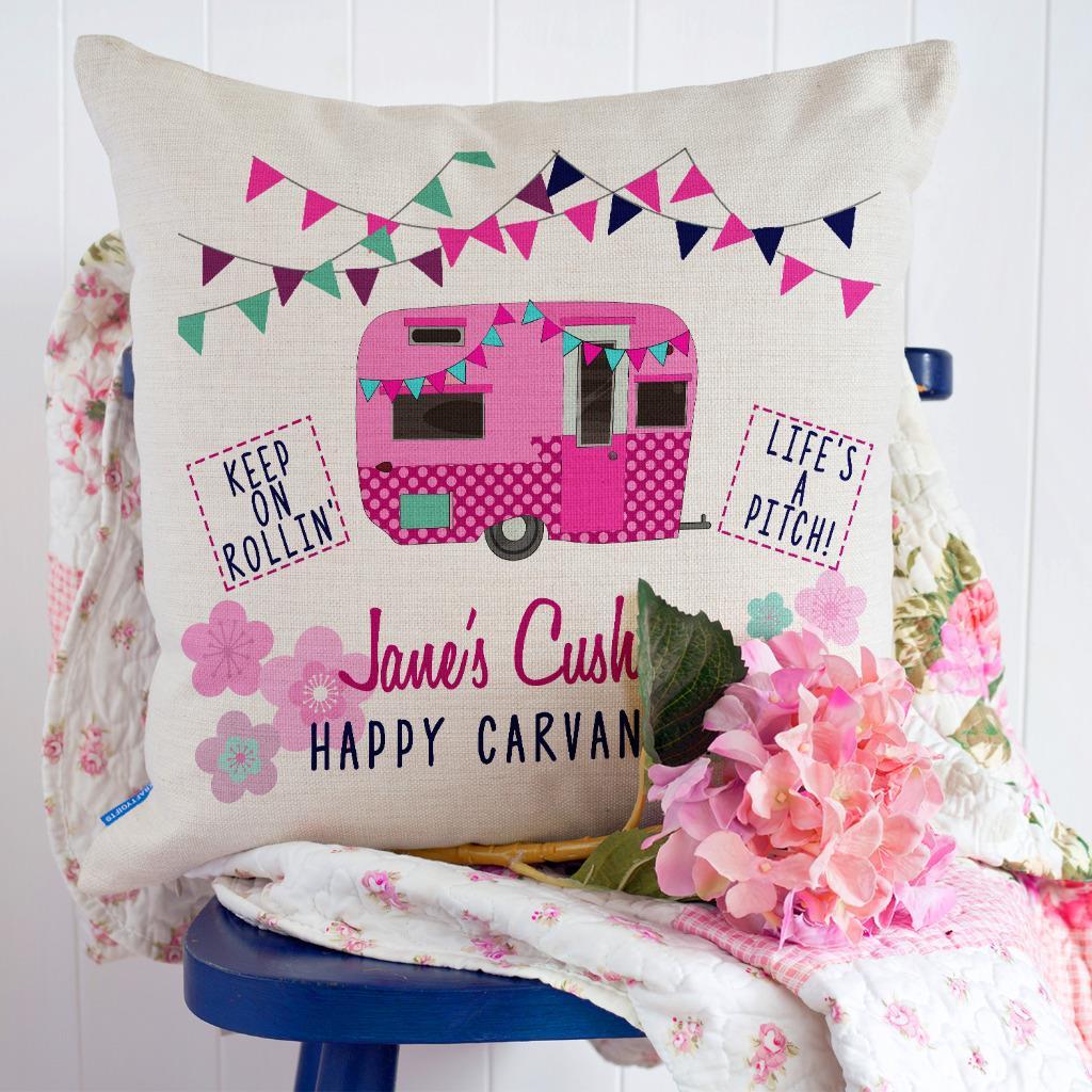 Caravan Cushion Cover Personalised Campervan Grandad Dad Christmas Gift KC71