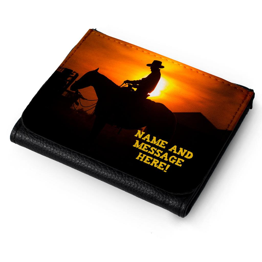Personalised Mens Wallet COWBOY Tri-Fold Gift Him Dad Fathers Birthday ST184