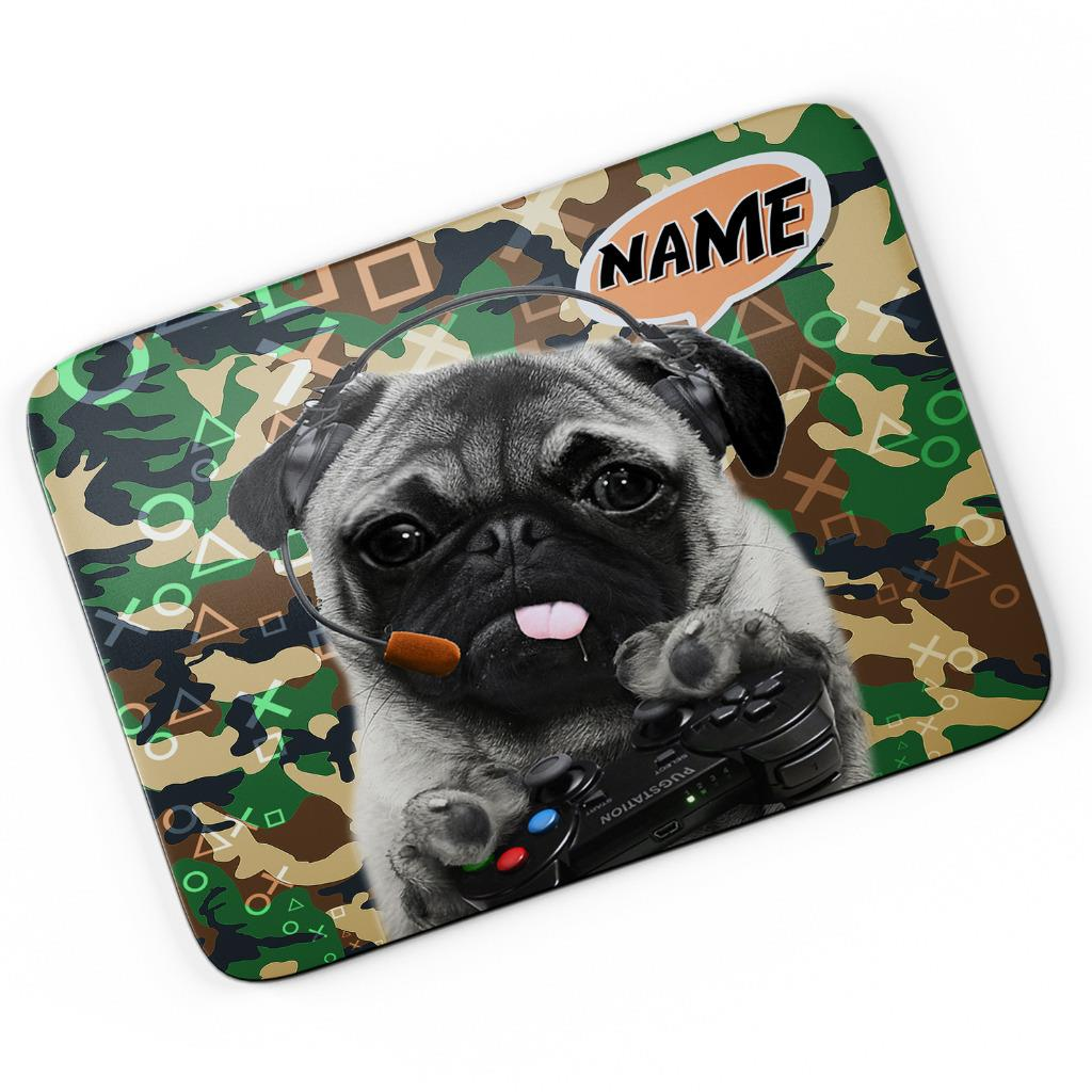 Personalised Neon Pug Gamer Mouse Mat Pad Computer Gaming Fun Cool Gift Him Her