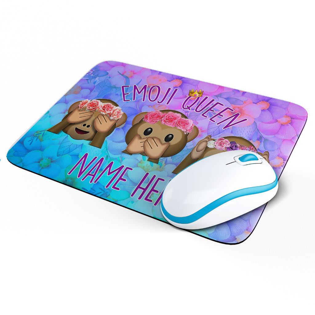 Personalised Emoji Queen Mouse Mat Pad Computer Gaming Monkey Gift Girls KS60