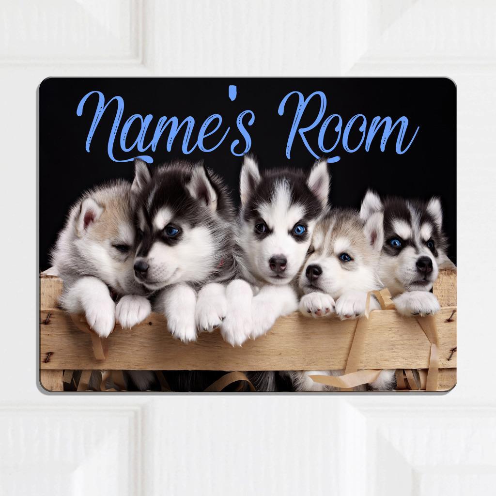Placa de nombre de Puerta Personalizado Husky Perro Chicas Chicos Niños Dormitorio Habitación signo KD16