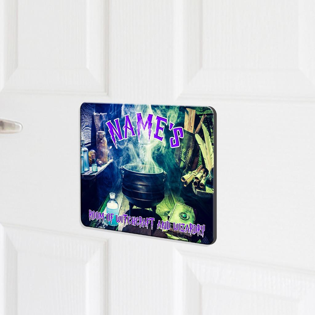 Personalised Door Name Plaque WIZARD WITCH Girl Boy Kids Bedroom Room Sign KD93