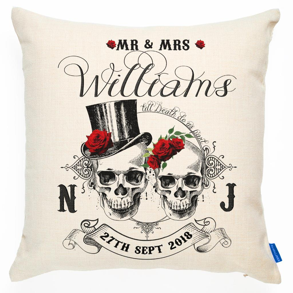 "16/"" cushion cover Mr /& Mrs anniversary Personalised Wedding geometric rose"
