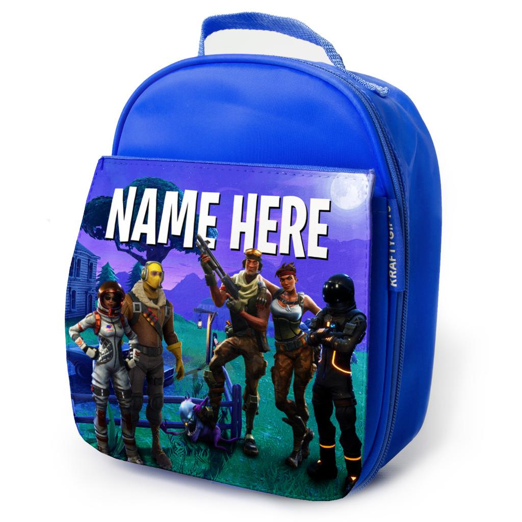 Details About Fortnite Lunch Bag School Childrens Boys Insulated Blue Personalised Ks80