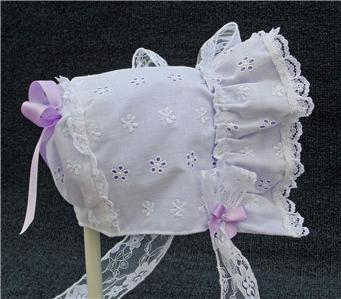 New Handmade White Eyelet with Blue Lining Baby Bonnet