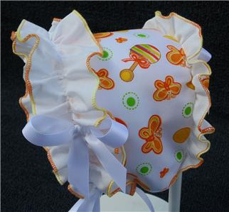 Orange Butterfly Print with White Ruffle /& Satin Ribbon Bows Baby Summer Bonnet