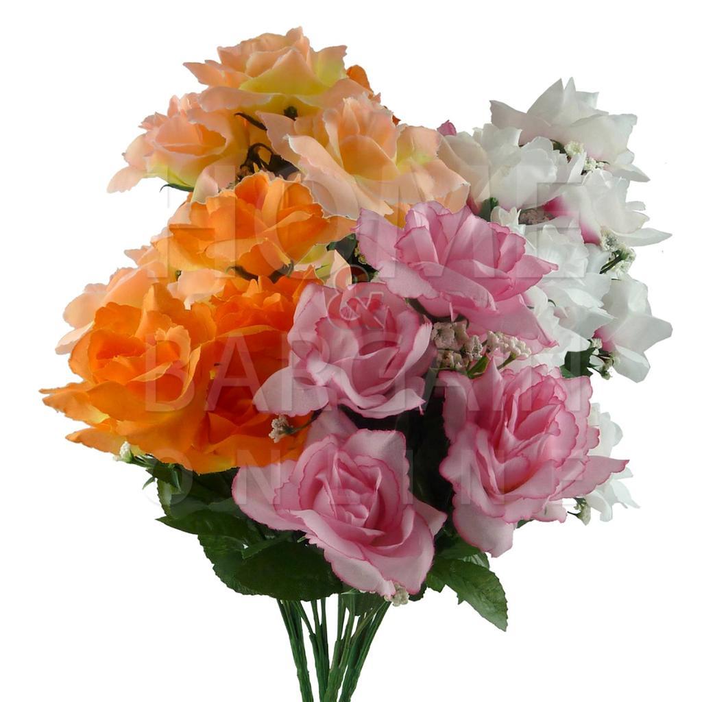 k nstliche blumen gef lschte roses buket home party dekoration hochzeit grab ebay. Black Bedroom Furniture Sets. Home Design Ideas