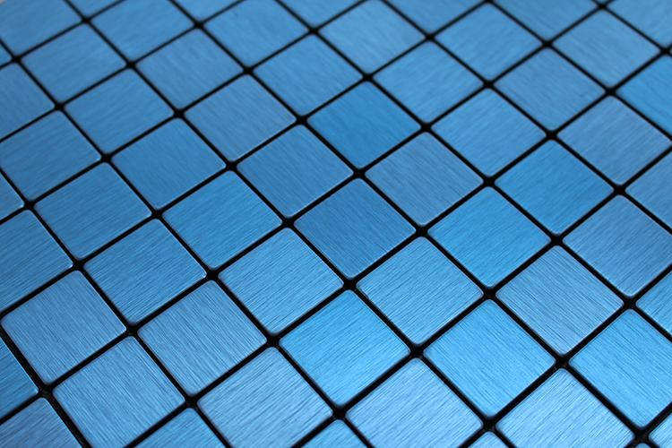 SAMPLE-Blue Brushed Metal Surface Mosaic Tile Back With