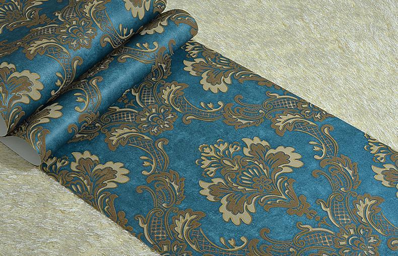 Dark Blue Damask Wallpaper: Vintage Dark Blue Luxury Damask Textured Embossed Flocking