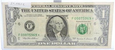One Dollar Bill Special Fancy Serial Number with star $1