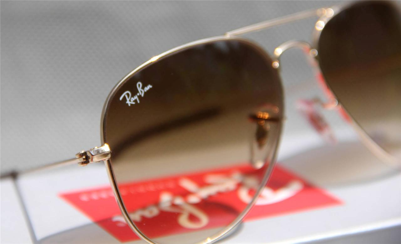 Geunine Ray Ban Aviator RB3025 001/51 all size Gold Frame Brown Gradient Unisex 7