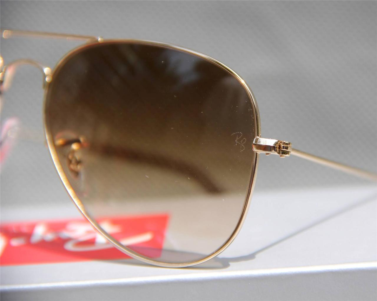 Geunine Ray Ban Aviator RB3025 001/51 all size Gold Frame Brown Gradient Unisex 6