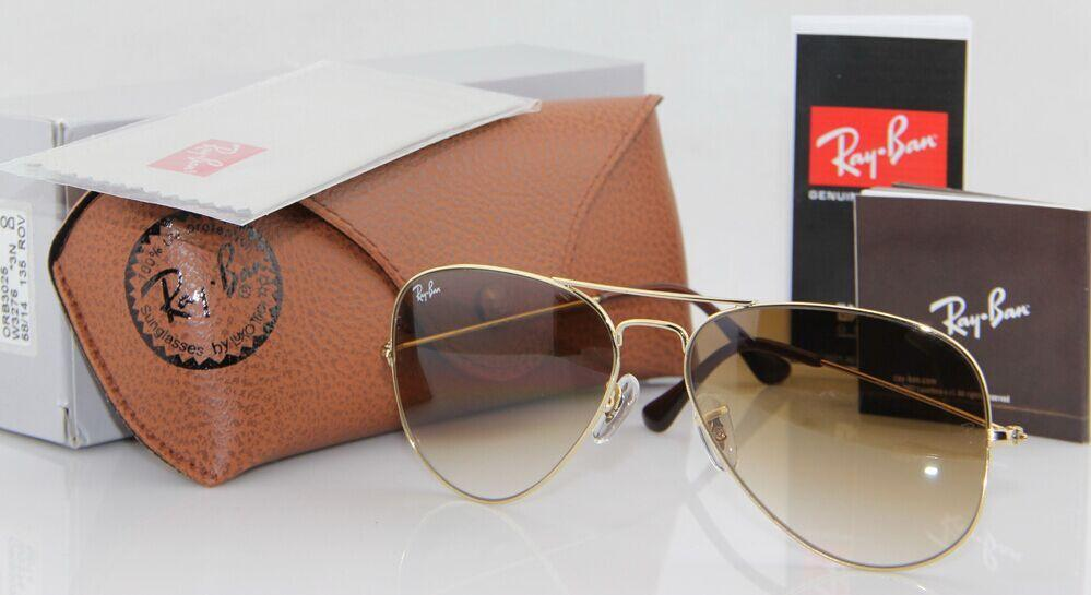 Geunine Ray Ban Aviator RB3025 001/51 all size Gold Frame Brown Gradient Unisex 5