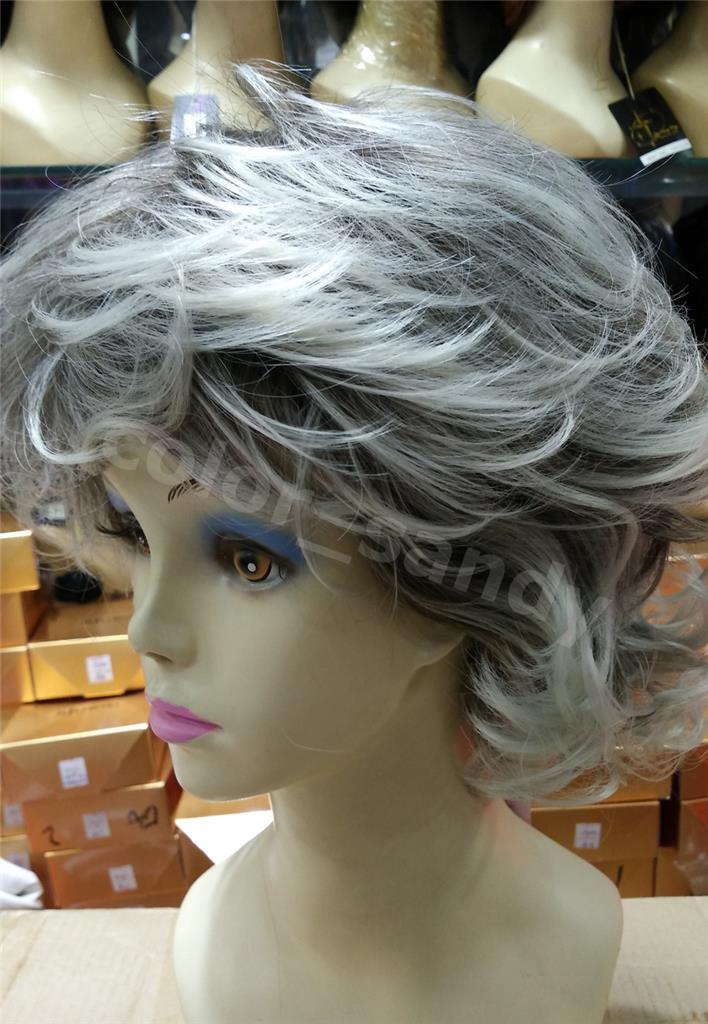 neu per cke oma omi alte frau graue gelockt wig karneval. Black Bedroom Furniture Sets. Home Design Ideas