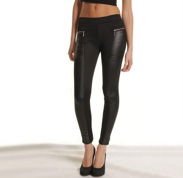 Hit the town in these vegan leather leggings featuring a stretch waistband and fabric. Your wardrobe won't be complete without these staple leggings.