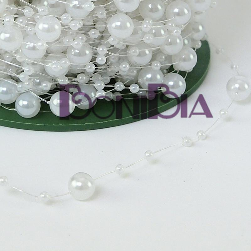 White Pearl Beads Strand Garland Acrylic Wedding Pearl: White 60m Fishing Line Pearls Chain Pearl Beads Garland