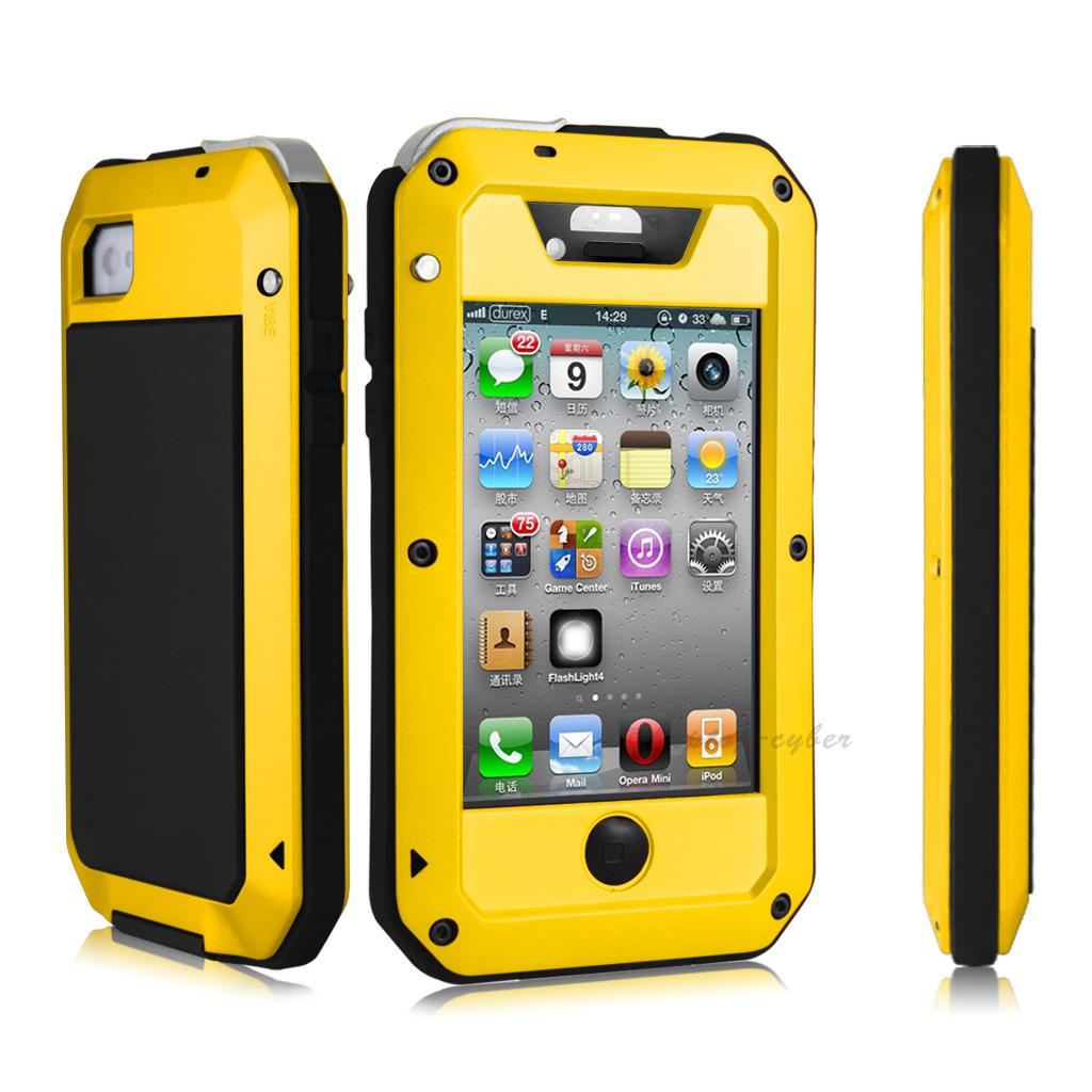 waterproof iphone 4s case heavy duty aluminum glass metal cover for apple 1985