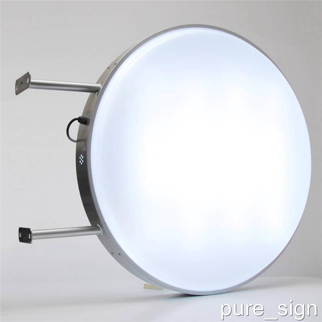 led outdoor 2 sided round illuminated projecting light box 60cm 24 ebay. Black Bedroom Furniture Sets. Home Design Ideas