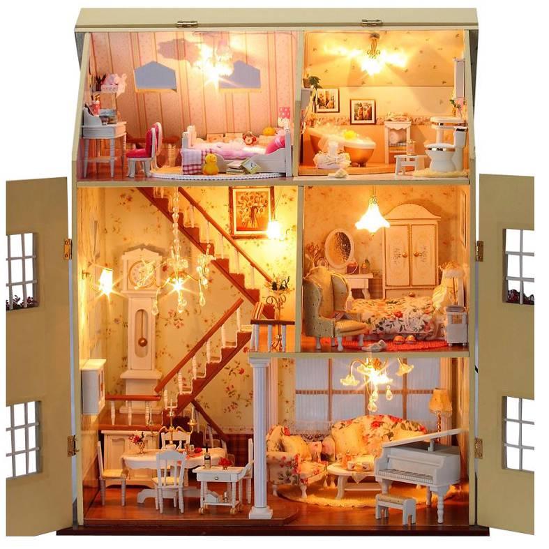 Casa delle bambole di legno kit progetto miniatura luci for Progetti di casa delle bambole gratis