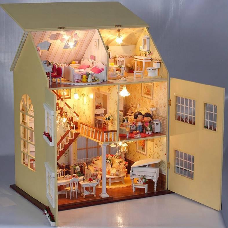 Casa delle bambole di legno kit progetto miniatura luci for Luci led per casa