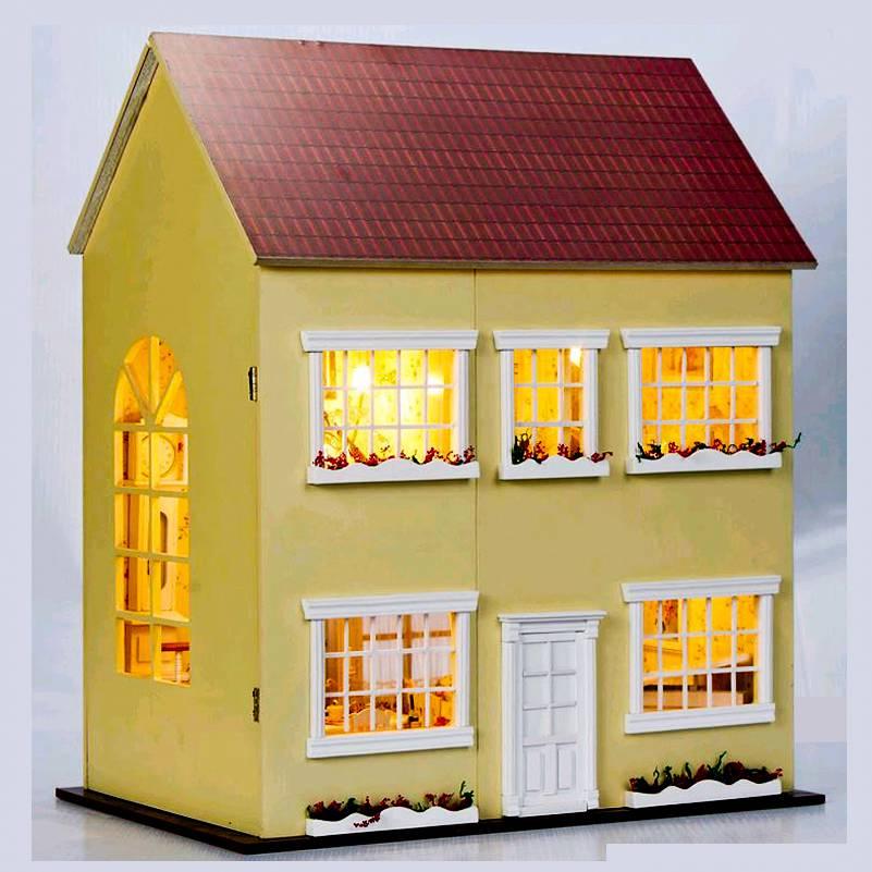 casa delle bambole di legno kit progetto miniatura luci led musica