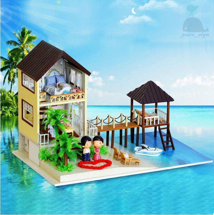 diy handgefertigte miniatur projekt holz puppenhaus my wasser villa in malediven. Black Bedroom Furniture Sets. Home Design Ideas