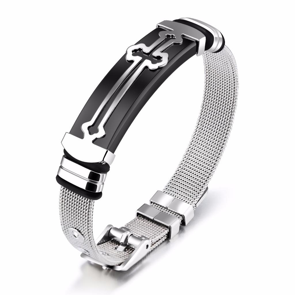 Men Boys Stainless Steel Bracelet Cross Wire Braided Hand Wrist Band ...