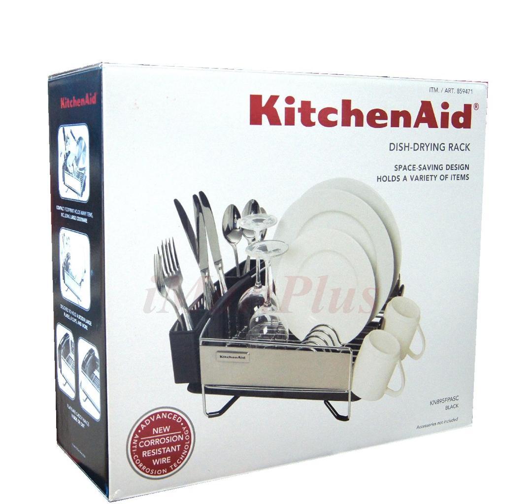 kitchen aid kitchenaid 3 pc dish cup holder plate drying drainer rack set black ebay. Black Bedroom Furniture Sets. Home Design Ideas