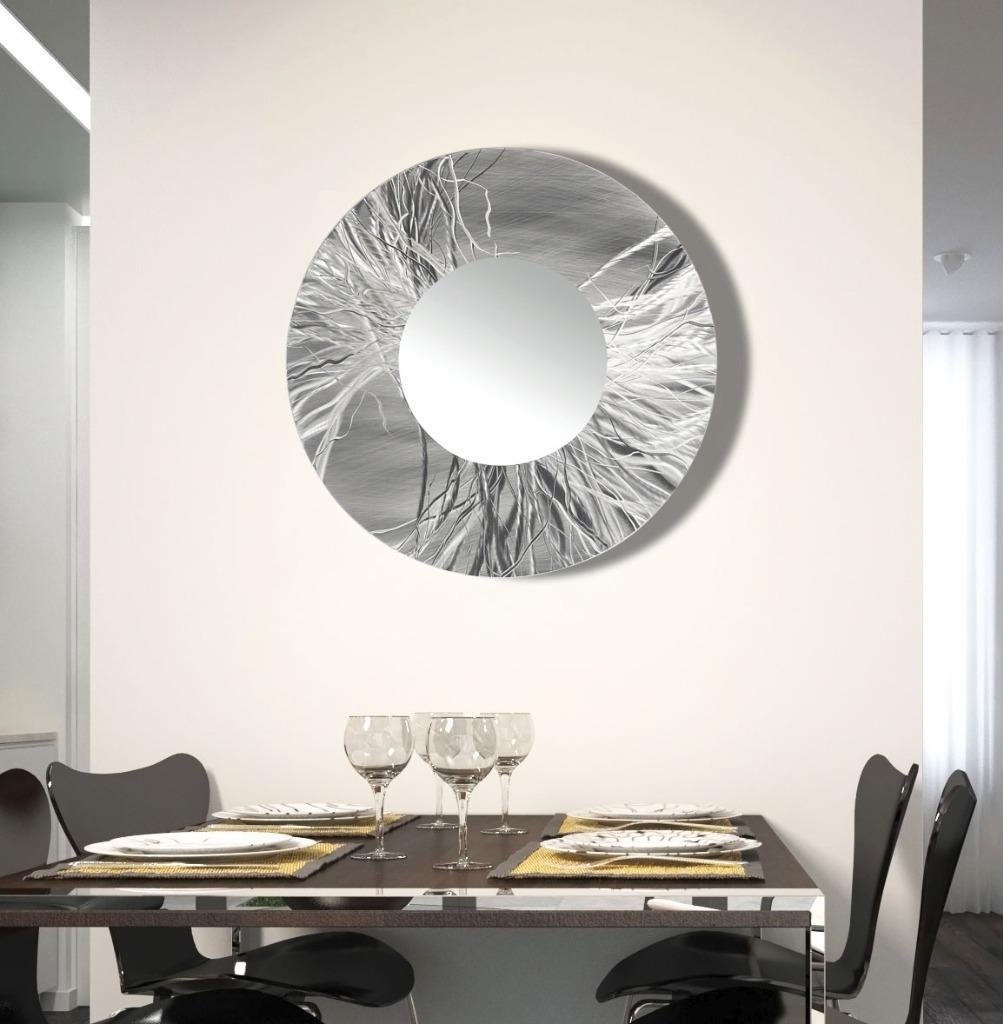 abstract hand etched silver metal wall art mirror round wall mirror by jon allen ebay. Black Bedroom Furniture Sets. Home Design Ideas