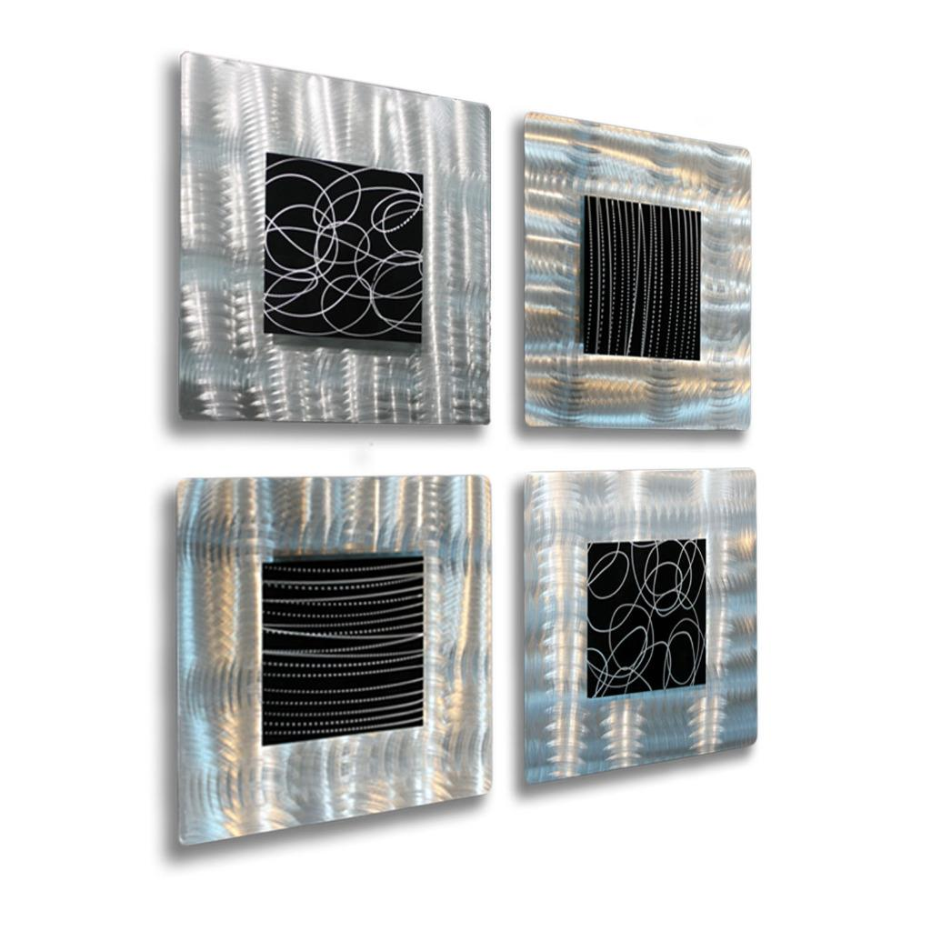 Set of 4 - Silver & Black Metal Wall Art Accent Sculpture ...