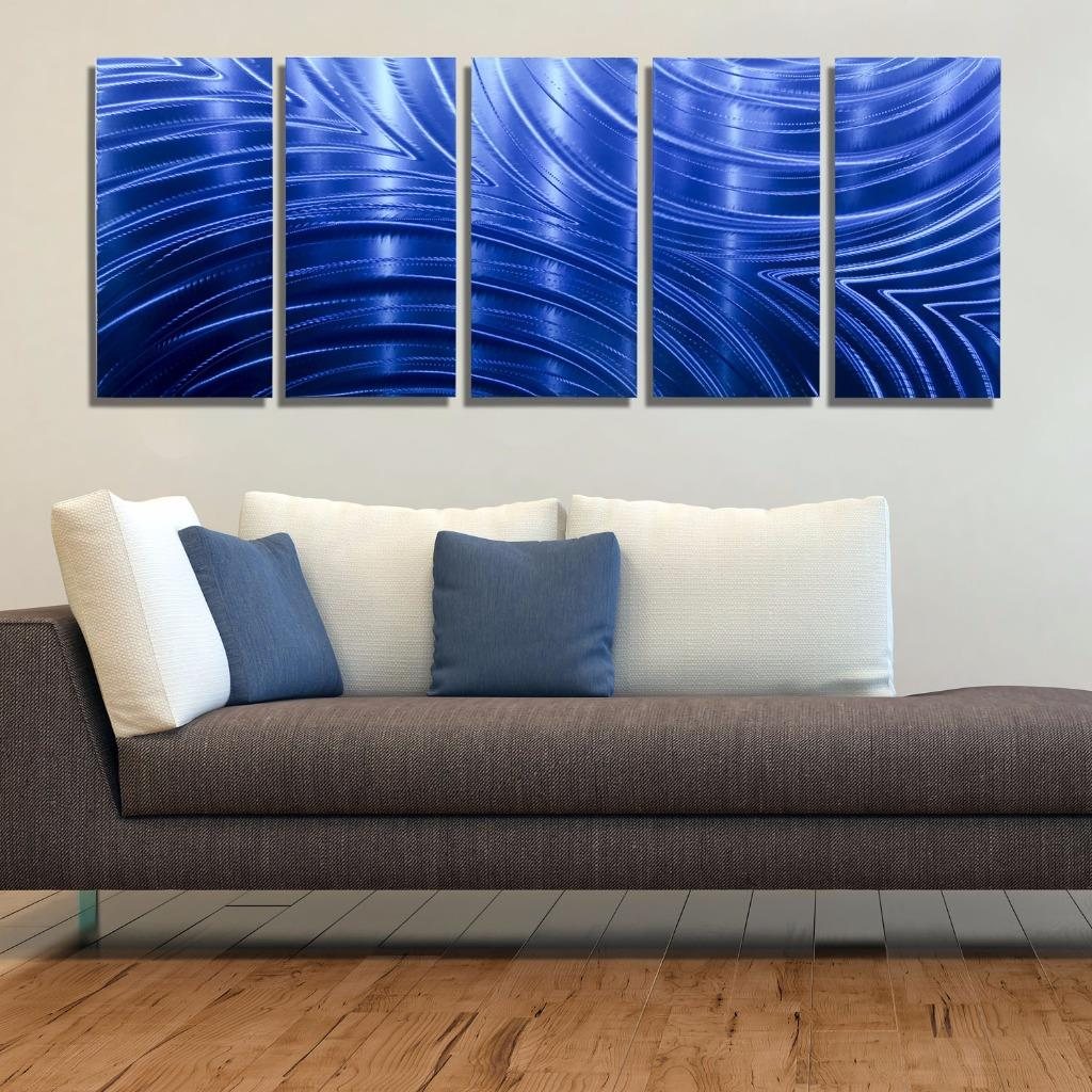 Metal Sculptures And Art Wall Decor: Large Blue Multi Panel Contemporary Metal Wall Art