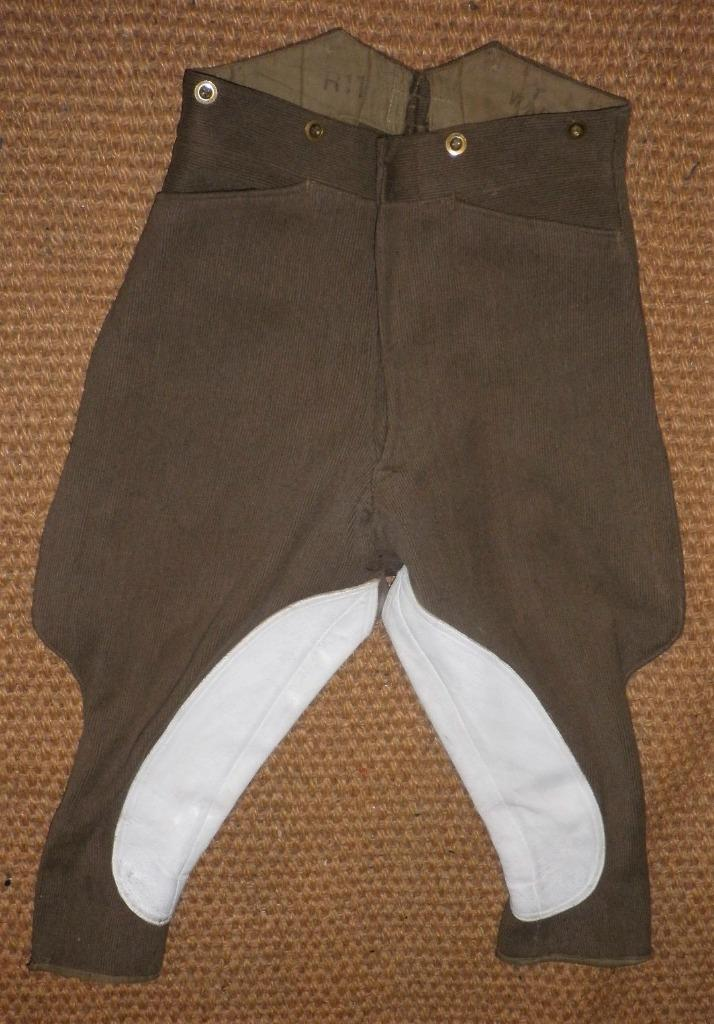 Vintage Gents Olive Green Elephant Ear Style Military Breeches 30  Waist