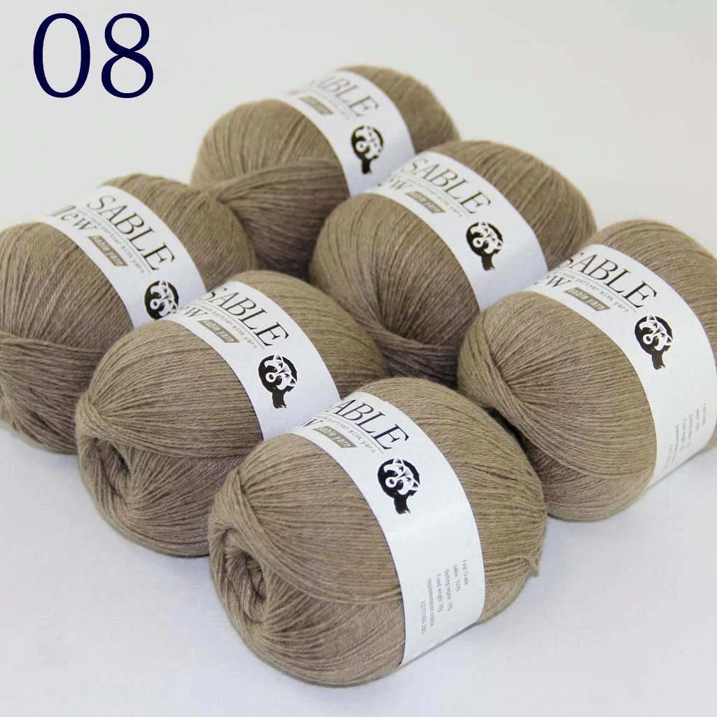 6Ballx50g Pure Sable Cashmere Hand Knit Wool Warm Wrap Shawls Crochet Yarn 15