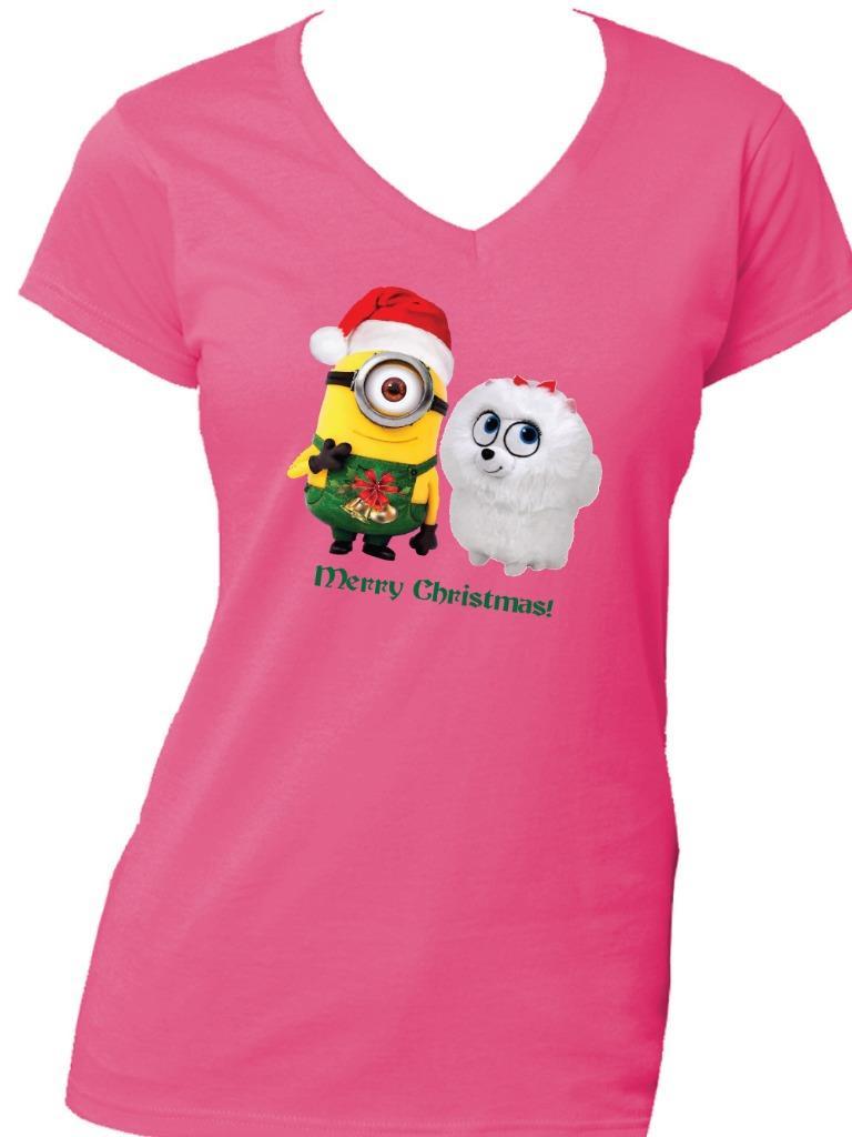 Merry Christmas /'Minion /& Gidget/' on Quality Gildan Mens /& Kid/'s Cotton T Shirt