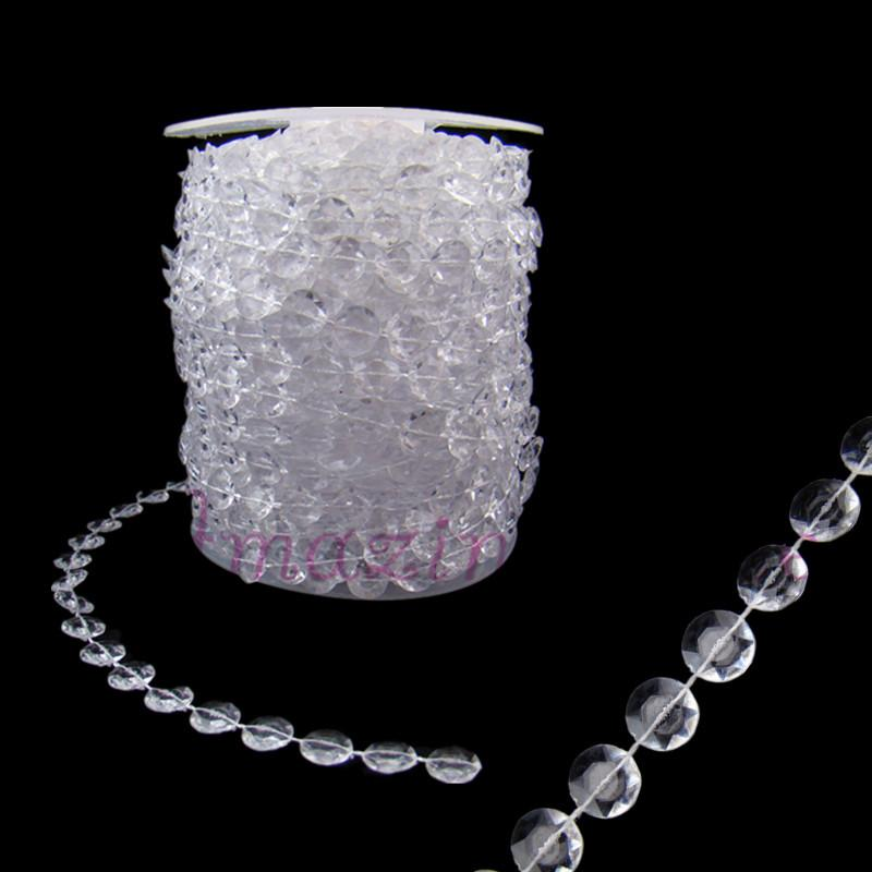 99ft 30m Clear Acrylic Crystal Beads Strand Wedding