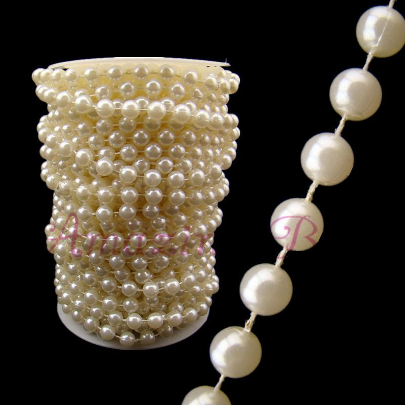 White Pearl Beads Strand Garland Acrylic Wedding Pearl: 20m 8mm Plastic Faux Pearl Beaded Strands Garland Wedding