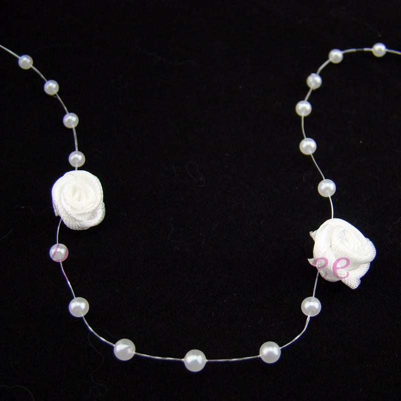 White Pearl Beads Strand Garland Acrylic Wedding Pearl: 30m Wedding Party Decor Ribbon Rose W/Plastic Pearl Beaded