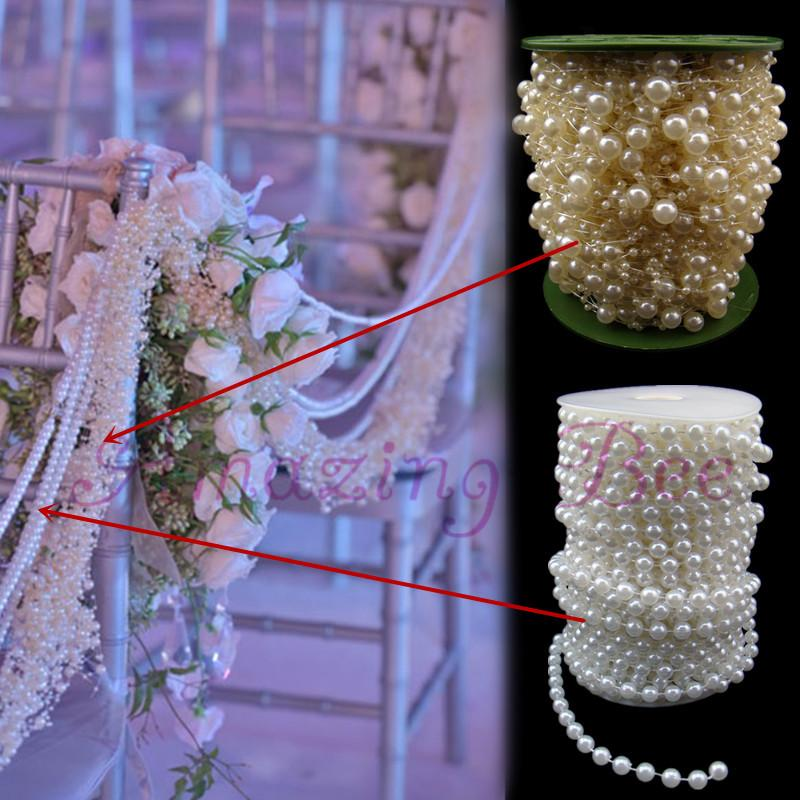 White Pearl Beads Strand Garland Acrylic Wedding Pearl: 197ft/60m Wedding Venue Decoration Chair Back Ivory Pearl