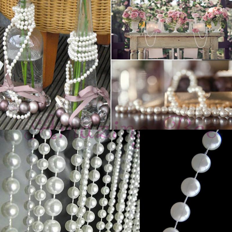 White Pearl Beads Strand Garland Acrylic Wedding Pearl