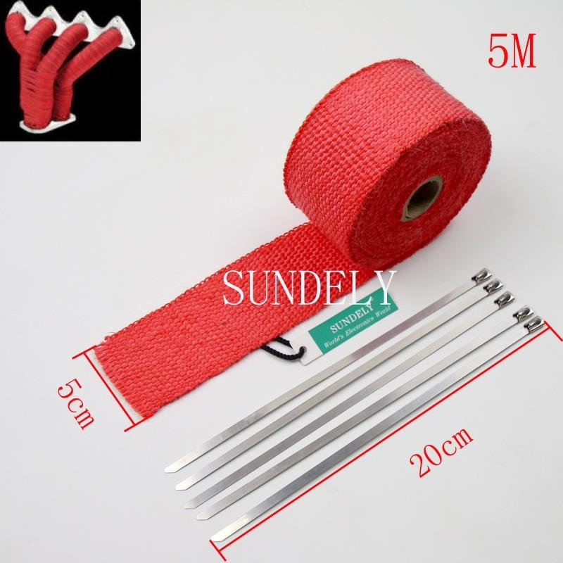 5 CABLE TIES 20CM RED HEAT WRAP EXHAUST MANIFOLD 50MM x 5M NEW