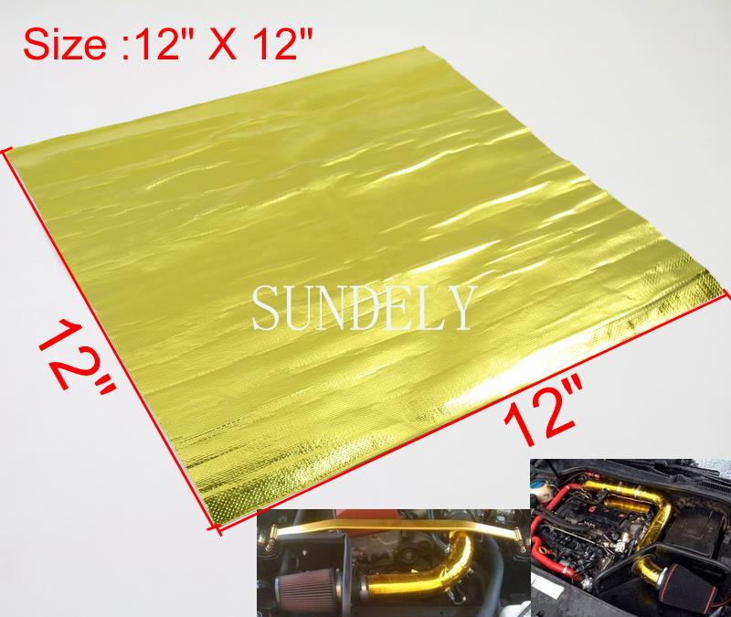 "39/"" x 47/"" Self Adhesive Reflective Gold High Temperature Heat Shield Wrap Tape"
