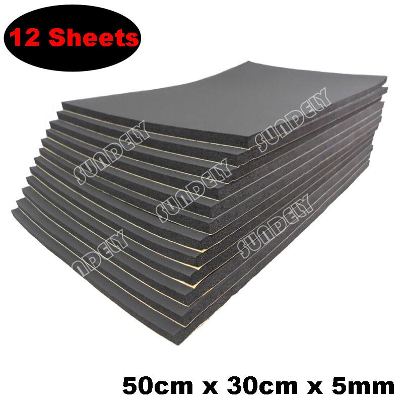 12x 5mm sound proofing /& heat insulation sheet closed cell foam size 50cm x 30cm