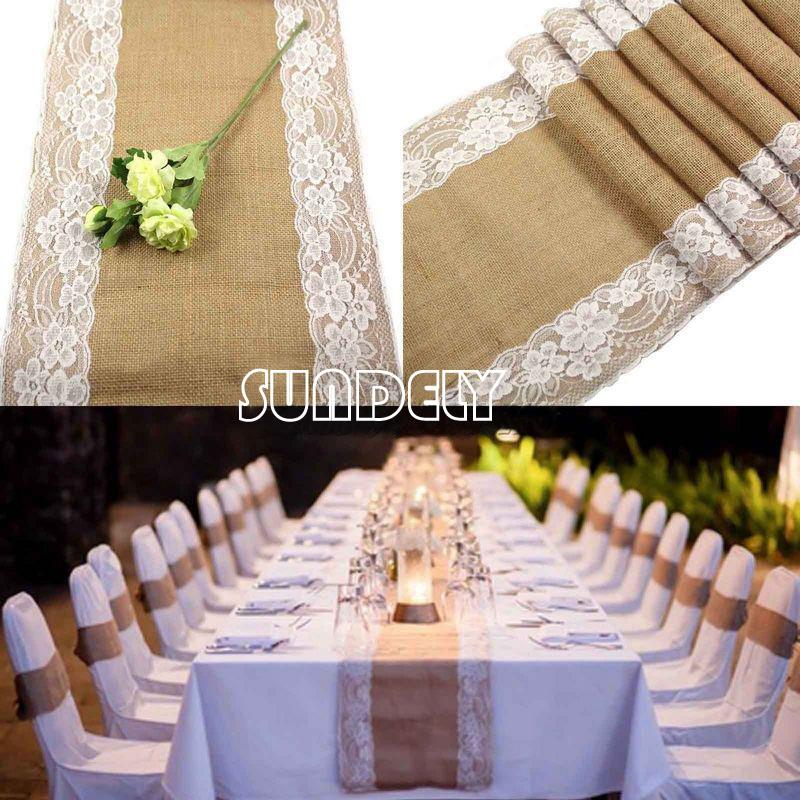 Tablecloth Decoration Hessian Wedding Burlap Table Lace Side Runner