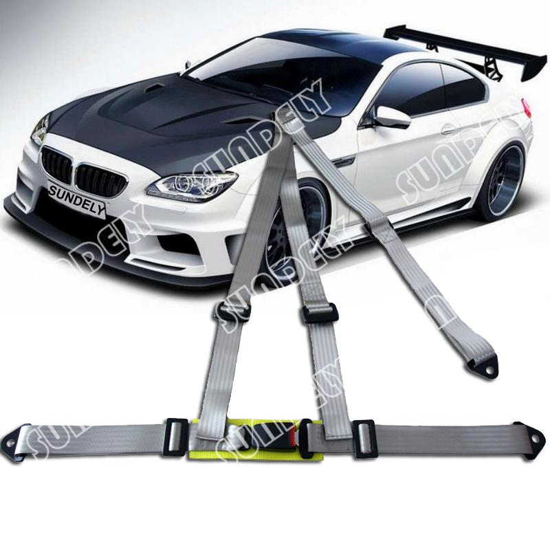 Car Vehicle 3 Point Racing Safety Harness Strap Seat Belt Bolt In Gray