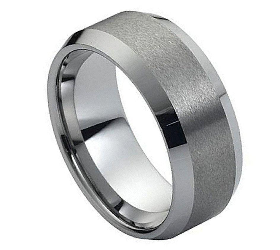 black tungsten carbide wedding band ring mens jewelry comfort fit brushed center ebay. Black Bedroom Furniture Sets. Home Design Ideas
