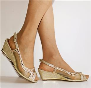 NEW Ladies Low Wedge Heel Net see thru Party Evening Bridal Shoes Sandals-1032