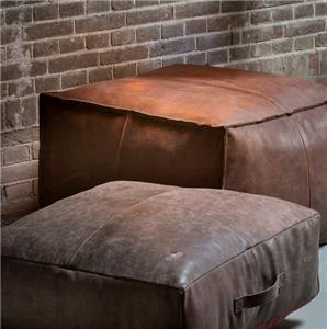 Genuine Leather Pouffe Brown Floor Cushion Pillow Footrest