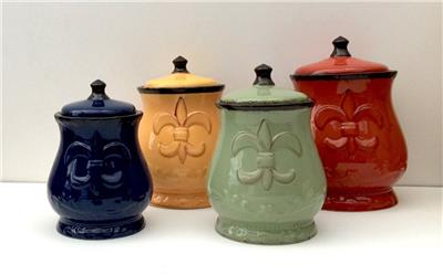 colorful kitchen canisters colorful kitchen storage set of 4 painted fleur de 2341